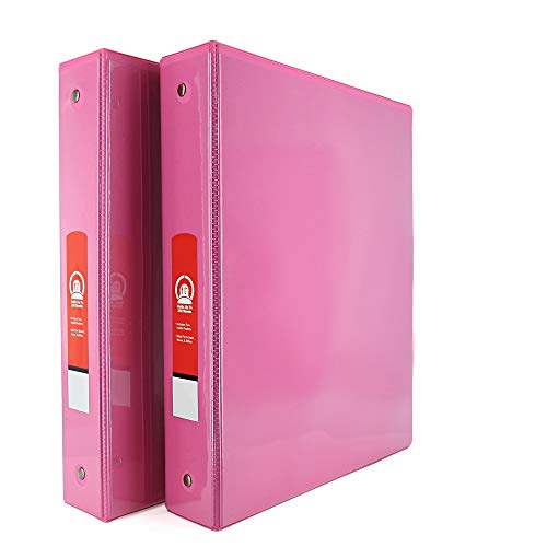 """1 1/2"""" 3-Ring View Binder with 2-Pockets - Available in Fuschia - Great for School, Home, & Office (2-Pack) - by Emraw"""