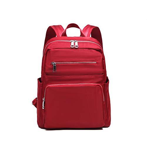 YANAIER Rucksack Damen & Herren Schulrucksack Laptop Rucksack 14 Zoll Wasserdichter Nylon Daypack Tagesrucksack Rot