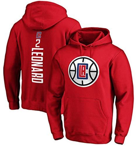 DYJXIGO Herren und Damen Basketball Hoodie Clippers #2 Leonard Kapuzenpullover Lose Sweatshirt T-Shirt Rot XXL (180~190cm)