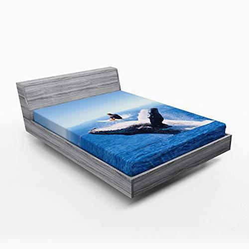 ABAKUHAUS Animal Sábana Elastizada, Jumphing Dolphin Surfer, Suave Tela Decorativa Estampada Elástico en el Borde, 150 x 190 cm, Azul Blanco