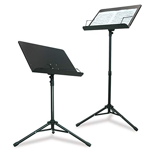 PARTYSAVING Orchestra Sheet Music Stand with Heavy Duty Black Metal Folding Design, 48.5-inch Tall,...