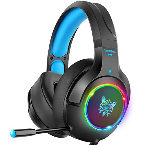DIZA100 Gaming Headset for Xbox One, PC, PS4, Nintendo Switch Over-Ear Headphones with Noise Canceling Mic, 3.5mm Jack Cable for Mac Laptop Tablet Smartphone (Black+Blue)