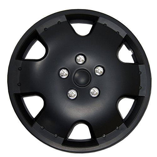TuningPros WC-15-720-B 15-Inches Pop On Type Improved Hubcaps Wheel Skin Cover Matte Black Set of 4