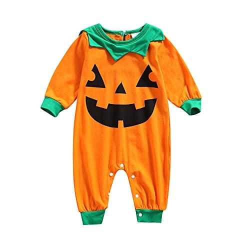Tuta Bimbo Zucca Halloween Unisex Tutina Neonato Pagliaccetto Manica Lunga Stampa Zucca Costumi Bimba Stampa Fantasma Halloween Zucca Comodo 0-18 Mesi (Arancia, 0-3 Mesi)