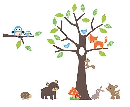 madras24 Wandtattoo Kinder Babyzimmer Aufkleber Eule Eulen Wandsticker Wand Waldtiere Kinderzimmer Wandaufkleber Dekoration fürs Baby Kindergarten Baum Tiere Grau (MK 2 XL 173 cm x 142 cm)