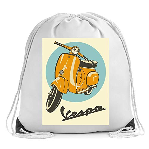 Vespa Yellow Scooter Poster Turnbeutel Drawstring Bag Gym Sports Bag Backpack