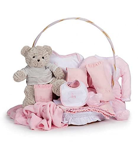 BebeDeParis   Regalos de Lujo para Bebés Recién Nacidos   Canastilla Bebé Clásica   Cesta de Regalo Bebé Personalizada   3-6 Meses (Rosa)