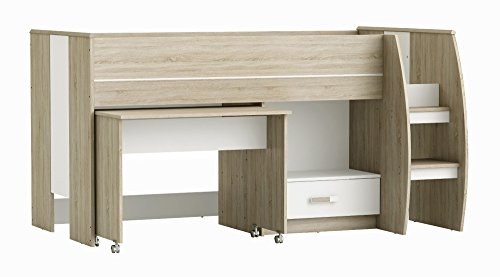 Jugendmöbel24.de Hochbett Niklas Sonoma Eiche grau/weiß inkl Schreibtisch + Schublade + Lattenrostplatte EN 747-1+A1 Kinderzimmer Multifunktions Spielbett