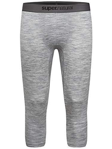 super.natural Sous-vêtement Technique Homme, Longueur 3/4, Laine mérinos, M BASE 3/4 TIGHT 175, Taille: M, Couleur: Gris chiné