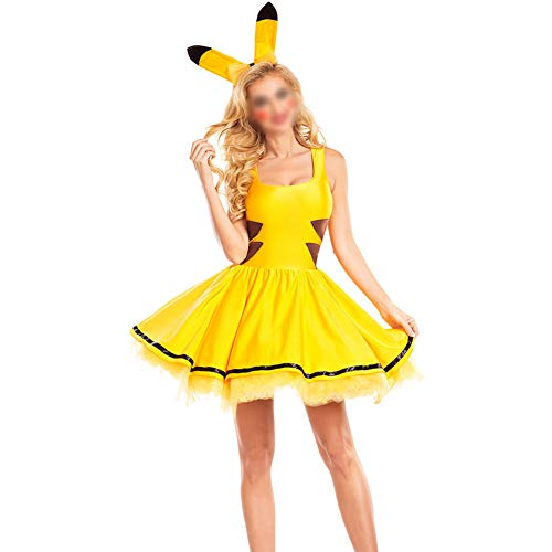 YCLOTH - Disfraz de Halloween para Mujer, 2019, Disfraz de Cosplay, Disfraz de Uniforme con Oreja, Vestido de Carnaval para Mujer, Material, Amarillo, X-Large 0.00watts