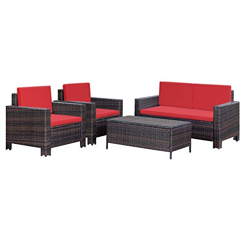 Homall 4 Pieces Outdoor Patio Furniture Sets Rattan Chair Wicker Conversation Sofa Set, Outdoor Indoor Backyard Porch Garden Poolside Balcony Use Furniture (Red)