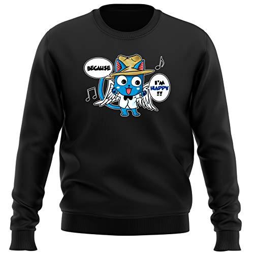 Okiwoki Pull Noir Parodie Fairy Tail - Happy - Happy Williams : (Sweatshirt de qualité Premium de Taille S - imprimé en France)