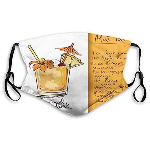 AOTISO Comfortabel bedrukt masker, Tiki Bar, handgetekende Mai Tai Cocktail in een glas en het recept Hawaiiaanse drank, oranje en wit