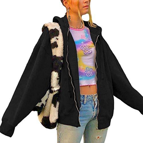 Y2k Damen Kapuzenpullover mit Reißverschluss, Schmetterlingsmotiv, Grau / Schwarz, Größe M