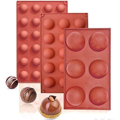 NALCY Stampi emisferici in Silicone, Silicone Semisfera Vassoio per Cioccolato, Fare Cioccolato, Torta, Gelatina, Mousse a Cupola, Mold Half Ball Spher, 3 PCS