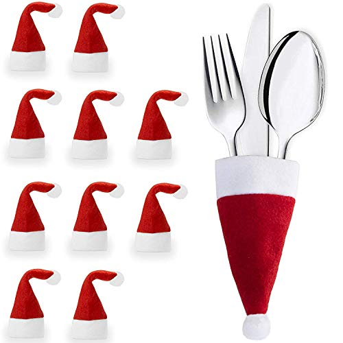 EGLEMTEK Set di 30 Portaposate a Forma di Cappello di Babbo Natale