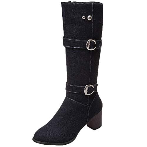 DOLDOA Stiefel Damen,Warm Square Heel Schuhe Casual Long Tube Denim Fashion Boots,Schwarz, Hellblau, Dunkelblau