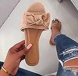 Hwcpadkj Sandalias Mujer Planas Chanclas Punta Abierta Plataformas Bajo Zapato De Playa Sandalias y Pantuflas Flip Flop con Lazo Romano con Boca de pez,Apricot,37