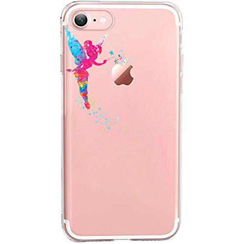 GIRLSCASES®   Hülle kompatibel für iPhone 8/7   Im Fee Motiv Muster   in bunt   Fashion Hülle durchsichtige Schutzhülle aus Silikon
