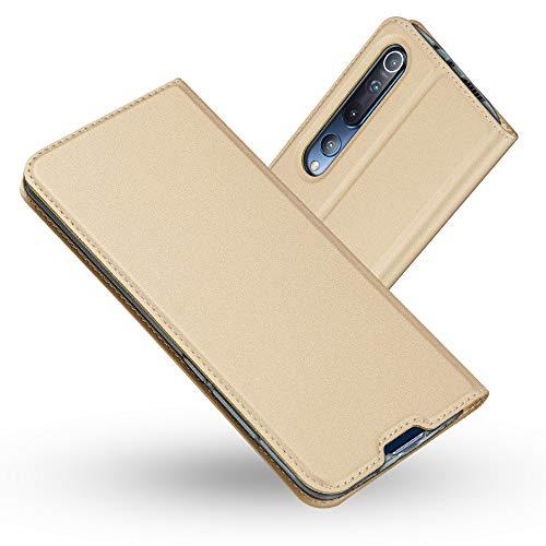 Radoo Xiaomi Mi 10 / Mi 10 Pro Case, Premium PU Leather Flip Wallet Case With TPU Shockproof Inner Shell Flip Book Full Body Protection Case for Xiaomi Mi 10 / Mi 10 Pro (Gold)