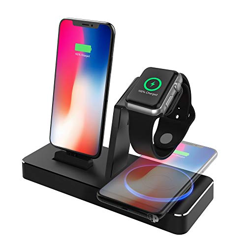Charging Dock for Apple Watch & iPhone w/Certified Qi Pad, (Apple Certified), ONEDock Power Station w/Built-in Original Apple Lightning Connector for Docking, Made for Series, 5,4,3,2,1, AirPods, iPod