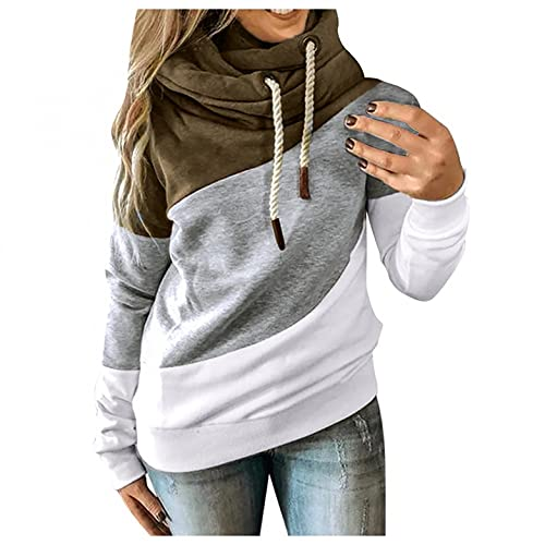 Nulairt Hoodies for Women Teen Girl Fashion Color Block Drawstring Long Sleeve Hooded Sweatshirt Casual Sweater Tops Army Green