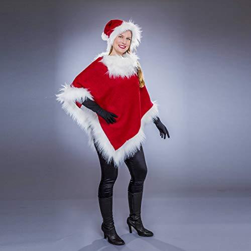 NET TOYS Schickes Weihnachtsfrau Kostüm für Damen - Rot-Weiß - Originelles Frauen-Outfit Weihnachtlicher Poncho mit Mütze - Wie geschaffen für Weihnachtsmarkt & Weihnachten