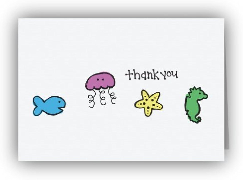 Sea Creatures Thank You Karten – 24 Karten & Umschläge B00DKD0K6I | Deutschland Shops
