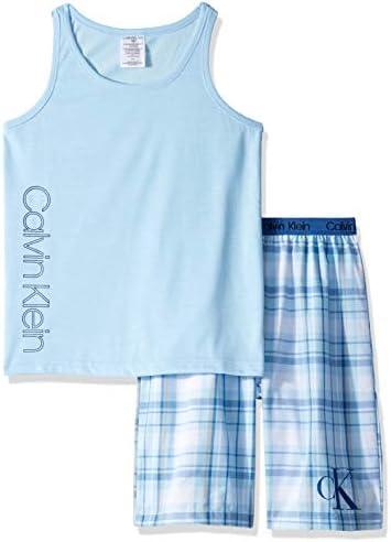 Calvin Klein Little Boys 2 Piece Sleepwear Top and Bottom Pajama Set Pj Blue Bell ck River Plaid product image