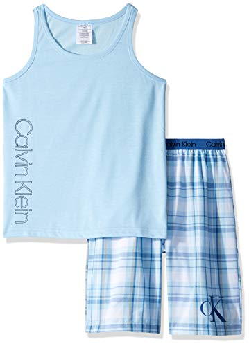 Calvin Klein Little Boys' 2 Piece Sleepwear Top and Bottom Pajama Set Pj, Blue Bell, ck River Plaid, Large (10/12)