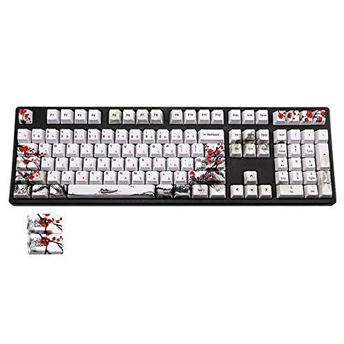 CKMSYUDG 110 Teclas PBT Keycap Tinte-Sublimación Plum Blossom Cherry Perfil Key Cap DIY Teclado Mecánico Keycap Set japonés