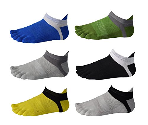 6 Pack Men No Show Toe Socks Cotton Low Cut Athletic 5 Finger Mesh Wicking