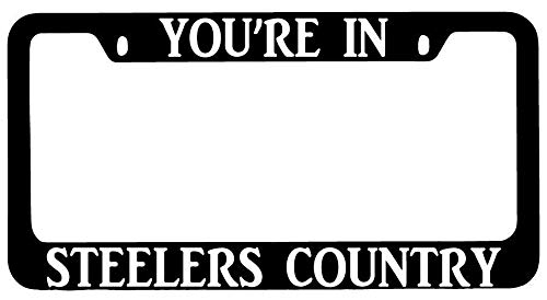 License Plate Frames, You're In Steelers Country Black METAL License Plate Frame Auto Accessory Applicable to Standard car Unisex-Adult Car Licenses Plate Covers Holders Frames for Plates 15x30cm