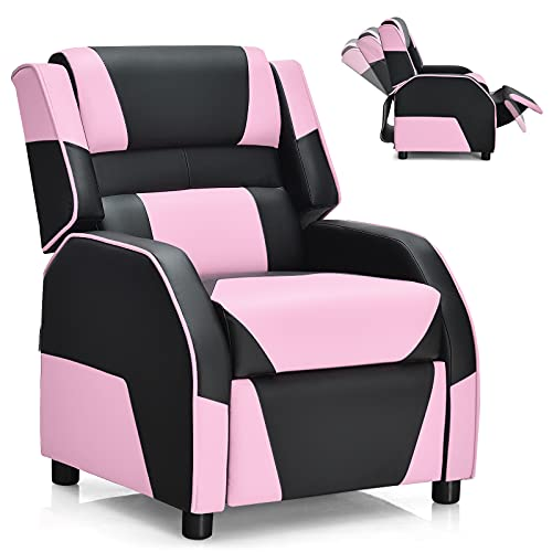 Giantex kids recliner, kids/youth gaming recliner chair, racing style game sofa with headrest and lumbar support, ergonomic pu leather armchair lounge chair for living & gaming room (pink)