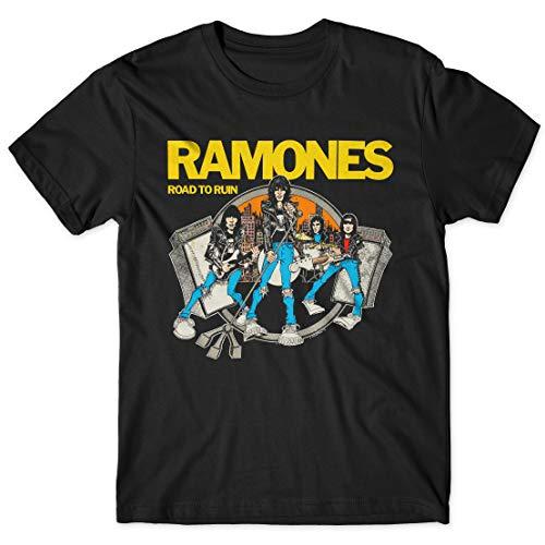 LaMAGLIERIA Camiseta Hombre Ramones Road To Ruin Cod Rs03 - Camiseta 100% algodón Punk Rock Band, L, Negro