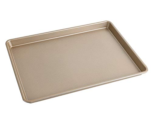Kitcom Nonstick Baking Cookie Sheet, Heavy Duty Large Size Carbon Steel Premium Baking Pan, 14.7 Inch x 10 Inch, Champagne Gold