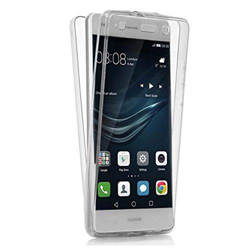EASYPLACE, Custodia protettiva 360° in silicone TPU, Protezione fronte e retro per Huawei P9 Lite, Trasparente