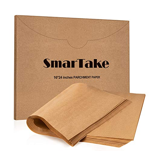 SMARTAKE 16x24 Inches Parchment Paper Baking Sheets, 100 Pcs Non-Stick Precut Baking Parchment, Suitable for Baking Grilling Air Fryer Steaming Bread Cup Cake Cookie and More (Unbleached)