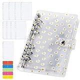BYLaconic PVC A6 Binder Notizbuch, 6 Löcher Budget Binder Einband mit 10pcs Binder Taschen/ 1pc Binder Karten/ 1 Etikettenaufklebern - Gänseblümchen