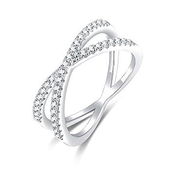 SOMEN TUNGSTEN 925 Sterling Silver X Cross Ring Cubic Zirconia CZ Wedding Band for Women Size 7