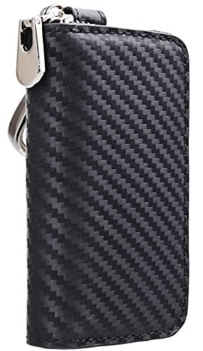 Car Keychain Holder Carbon Fiber Leather Car Smart Key Chain Holder Metal Hook Keyring Wallet Zipper Bag for Vehicle Keyless Entry For Men's Car Key Case Remote Key Fob