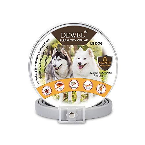 DEWEL Collar Antiparasitos Perro/Gato para Pulgas,Garrapatas y Mosquitos,Impermeable/Ajustable - 63 cm