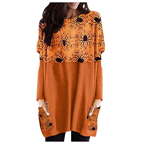Sudadera casual de manga larga para mujer, holgada de manga larga, con estampado de calabaza de Halloween y cuello redondo, blusa informal túnica Blusas de color negro