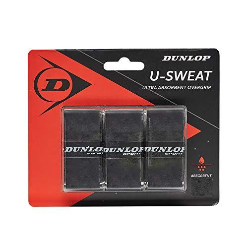 Dunlop U Sweat - Overgrip para tenis, 12 paquetes de 3, Negro