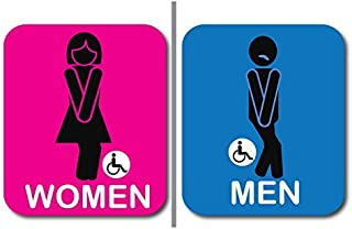 """2 pack Bathroom Signs, Funny and modern Restroom Signage for Office, Restaurant Night club or any Store – 7"""" x 8"""" With disable icon."""