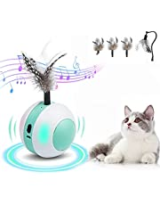 ねこ おもちゃ 電動 ねこじゃらし 自動 猫じゃらし 動く 猫 一人 遊び ねこのおもちゃ 電動 天然鳥の羽棒*4/ゴムシェル/自動回転ボール/鳥のさえずり付き/ LEDライト/ USB充電式/ 猫 蹴り おもちゃ ネコ おもちゃ 自動 ストレス解消 運動不足解消