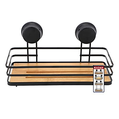 KADAX Saugnäpfregal, Eckregal aus Bambus, Duschkorb aus pulverbeschichtetem Stahl, Bambusregal bis zu 4 kg, Badregal ohne Bohren, Wandregal (1 Etage, Schwarz)