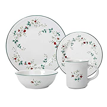 Pfaltzgraff Winterberry 16-Piece Dinnerware Set, floral Christmas plates with holly Service for 4