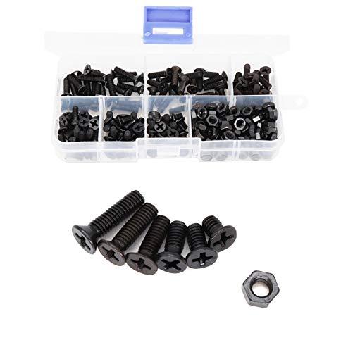 binifiMux 220pcs M4 Flat Head Black Screw Nuts Kit, M4 x 6mm/ 10mm/ 12mm/ 16mm/ 18mm/ 20mm