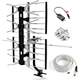 CeKay Outdoor Digital HD TV Antenna with High Gain and Low Noise Amplifier for UHF/VHF - Long Range, Mounting Pole, 40FT RG6 Coaxial Cable, 2 Way Splitter, Easy Installation